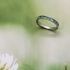 Abalone & Silver Size 7 Ring